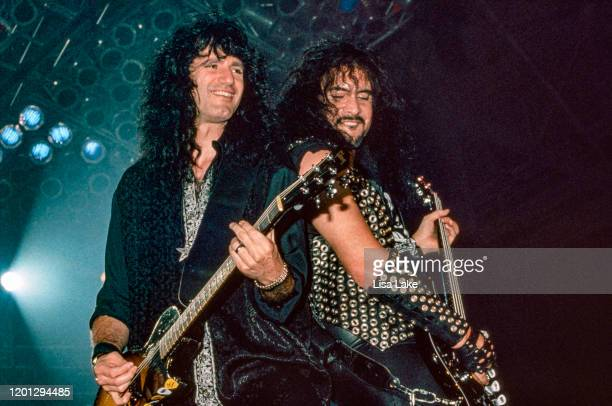 Kiss guitarist Bruce Kulick and bassist Gene Simmons perform at Stabler Arena on October 1 in Bethlehem Pennsylvania