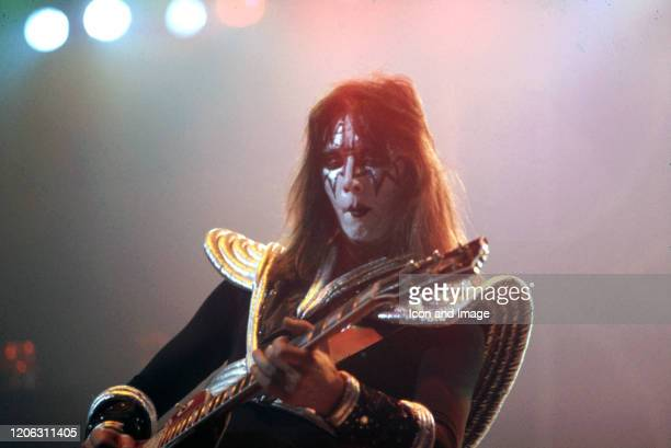 Kiss lead guitarist Ace Frehley performs during the band's Rock Roll Over Tour on January 27 at Cobo Arena in Detroit Michigan