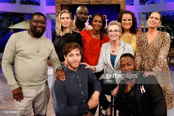 """Kiss Me In Lamorne-ing"""" Episode 604 -- Pictured: Lil Rel, Sara Foster, Mike Colter, Contestant, Jane Lynch, Contestant, Erin Foster, Thomas..."""