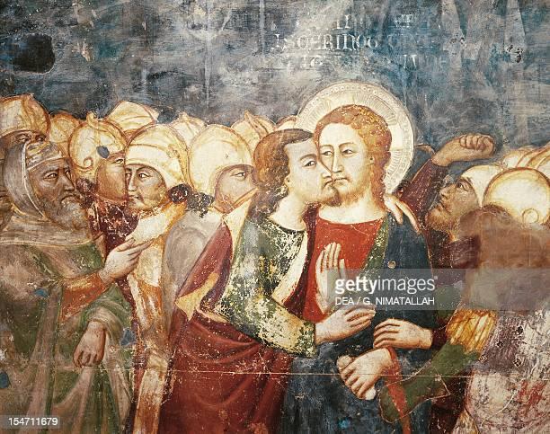 Kiss of Judas, 14th century fresco by the Master Trecentesco of Sacro Specol. Upper Church of Sacro Speco Monastery, Subiaco. Italy, 14th century.