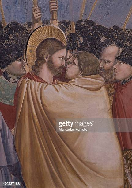 'Kiss of Judas by Giotto 13031305 14th Century fresco Italy Veneto Padua Scrovegni Chapel After restoration picture Detail Judas Iscariot wrapped in...