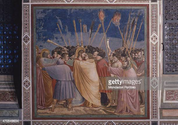 'Kiss of Judas by Giotto 13031305 14th Century fresco Italy Veneto Padua Scrovegni Chapel After restoration picture Whole artwork view A great...