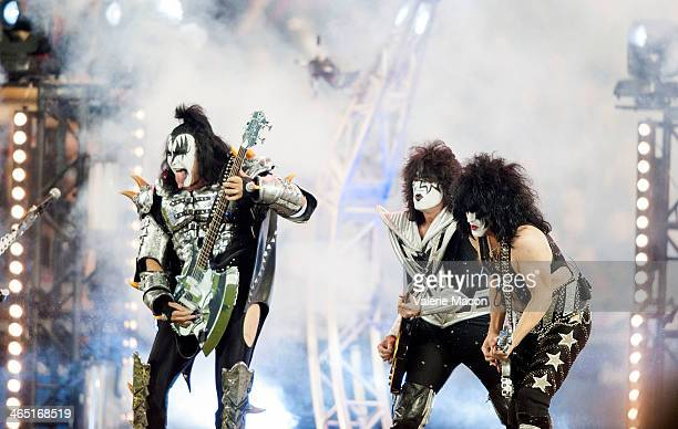 Kiss perform at the 2014 Coors Light NHL Stadium Series LA at Dodger Stadium on January 25 2014 in Los Angeles California