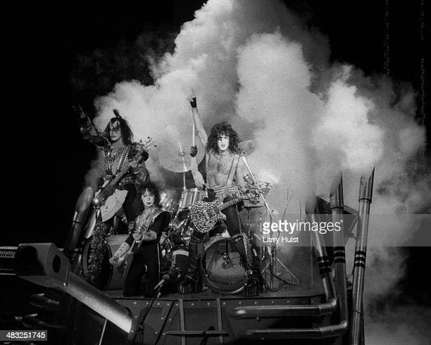 Kiss performing on the 'Creatures of the Night' tour at the Bill Graham Civic Auditorium in San Francisco California on April 3 1983