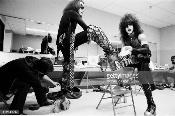 Kiss portrait backstage in dressing room New York February 1977 Gene Simmons Paul Stanley