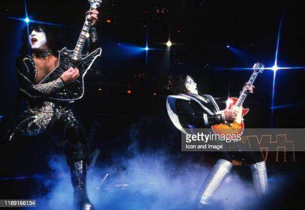 Kiss rhythm guitarist and lead vocalist Paul Stanley and lead guitarist Ace Frehley perform during the Psycho Circus World Tour on November 27 in...