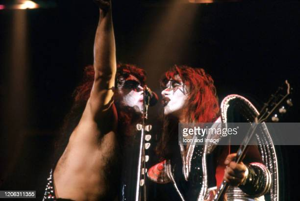 Kiss rhythm guitarist Paul Stanley and lead guitarist Ace Frehley perform during the band's Rock Roll Over Tour on January 27 at Cobo Arena in...