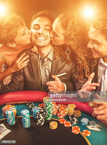 kisses by the luck at poker - texas hold 'em stock pictures, royalty-free photos & images