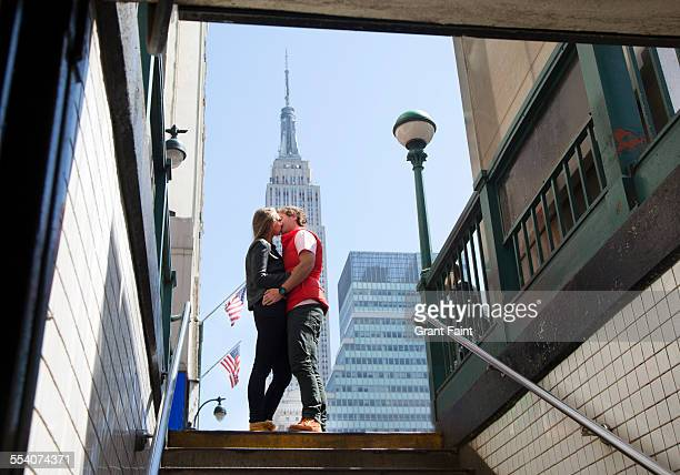 Kissing in New York.