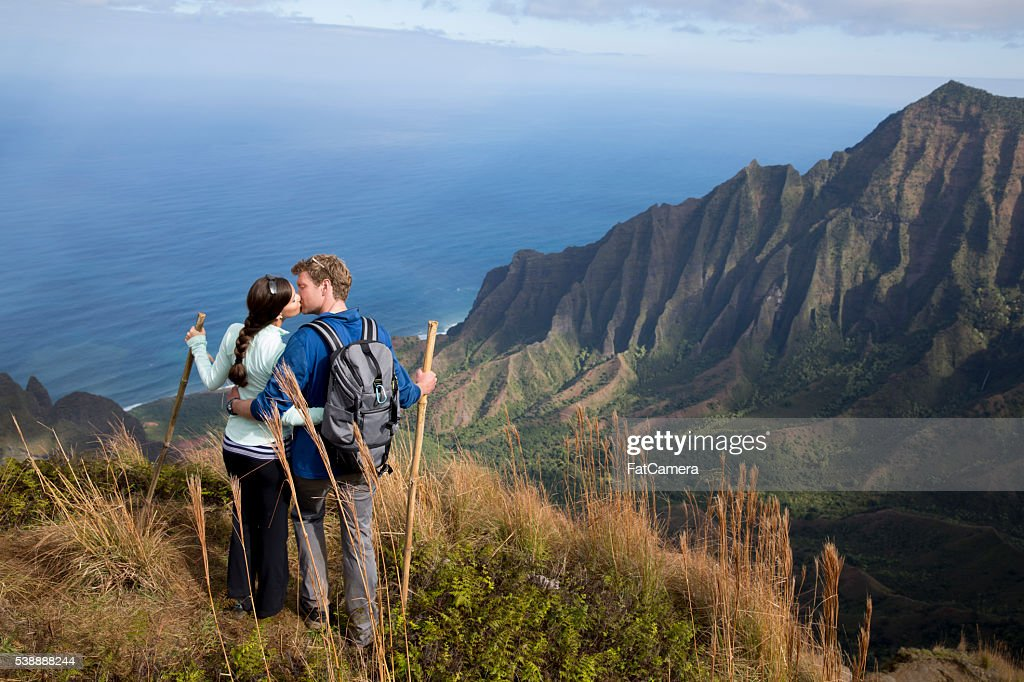 Kissing on a Mountain Top : Stock Photo