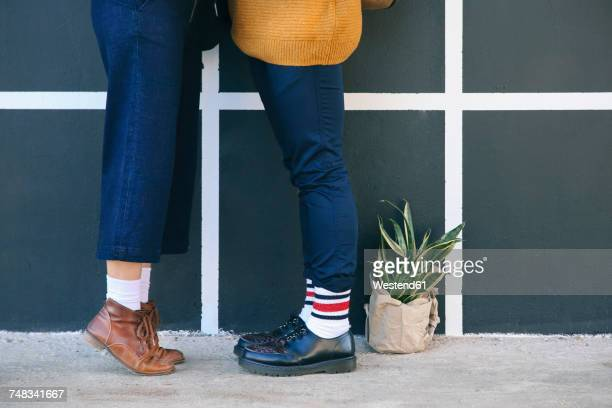 kissing young couple, partial view - leg kissing stock photos and pictures
