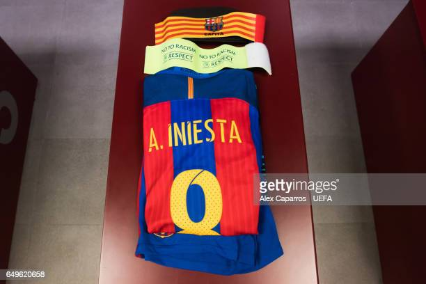 Kit and captain armband of Andres Iniesta is seen in the dressing room of FC Barcelona ahead of the UEFA Champions League Round of 16 second leg...