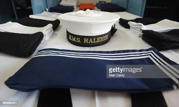Kit belonging to a Royal Navy recruit in week seven of their nine-week course is laid out for inspection at the training establishment HMS Raleigh,...