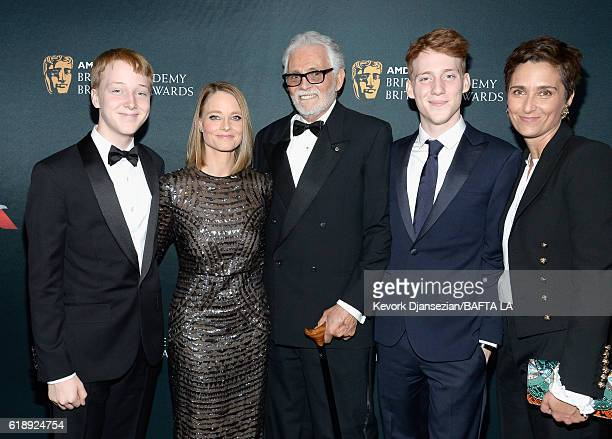 Kit Bernard Foster honoree Jodie Foster actor David Hedison Charles Bernard Foster and photographer/director Alexandra Hedison attend the 2016 AMD...