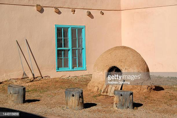 kit carson's homestead oven - pueblo built structure stock photos and pictures