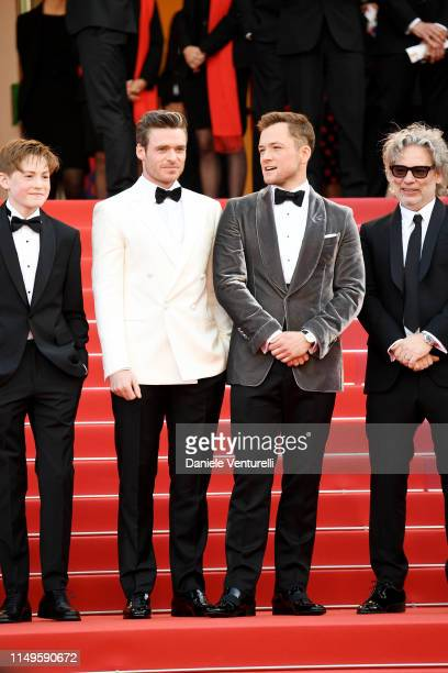 Kit Connor Richard Madden Taron Egerton and Director Dexter Fletcher attend the screening of Rocketman during the 72nd annual Cannes Film Festival on...