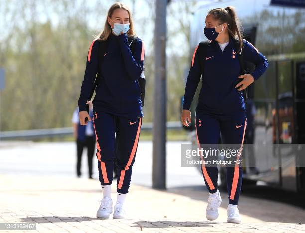 Kit Graham and Josie Green of Tottenham Hotspur arrive during the Vitality Women's FA Cup Fourth Round match between Reading Women and Tottenham...