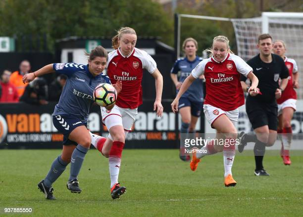 Kit Graham of Charlton Athletic Women during SSE Women's FA Cup quarter_final match between Arsenal against Charlton Athletic Women at Meadow Park...