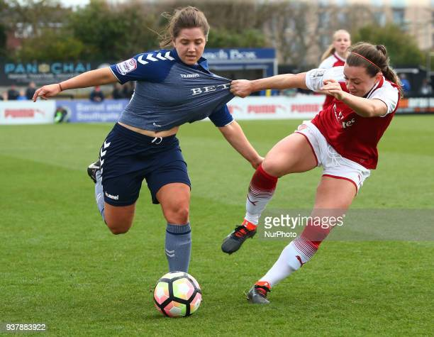 Kit Graham of Charlton Athletic Women holds of Katie McCabe of Arsenal during SSE Women's FA Cup quarter_final match between Arsenal against Charlton...