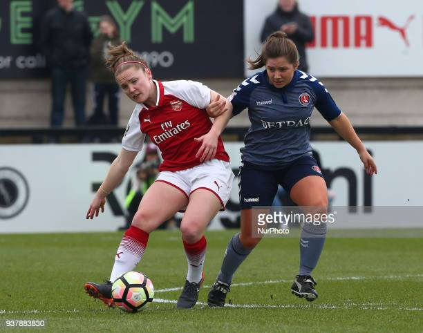 Kit Graham of Charlton Athletic Women holds of Kim Little of Arsenal during SSE Women's FA Cup quarter_final match between Arsenal against Charlton...