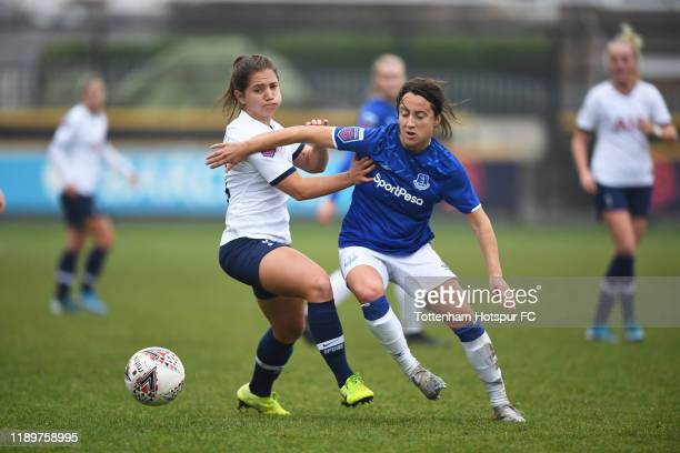 Kit Graham of Tottenham and Everton's Maeva Clemaron in action during the Barclays FA Women's Super League match between Everton and Tottenham...