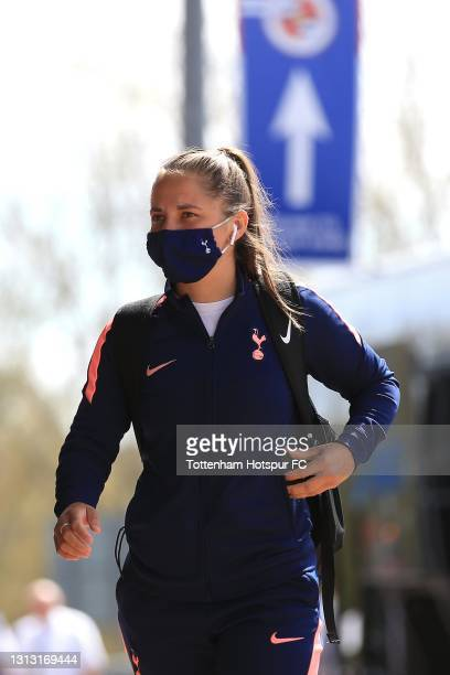 Kit Graham of Tottenham Hotspur arrives during the Vitality Women's FA Cup Fourth Round match between Reading Women and Tottenham Hotspur Women at...