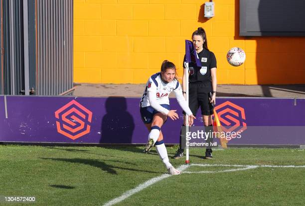Kit Graham of Tottenham Hotspur takes a corner kick during the Barclays FA Women's Super League match between Tottenham Hotspur Women and Everton...