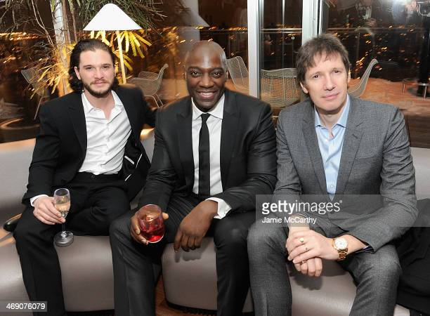 Kit Harington Adewale AkinnuoyeAgbaje and director Paul WS Anderson attend the Pompeii screening after party hosted by TriStar Pictures with the...