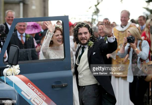 Kit Harington and Rose Leslie at Rayne Church Kirkton of Rayne in Aberdeenshire after their wedding