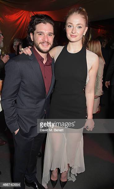 Kit Harington and Sophie Turner attend the 'Game Of Thrones Season 5' UK Premiere After Party at the Tower of London on March 18 2015 in London...
