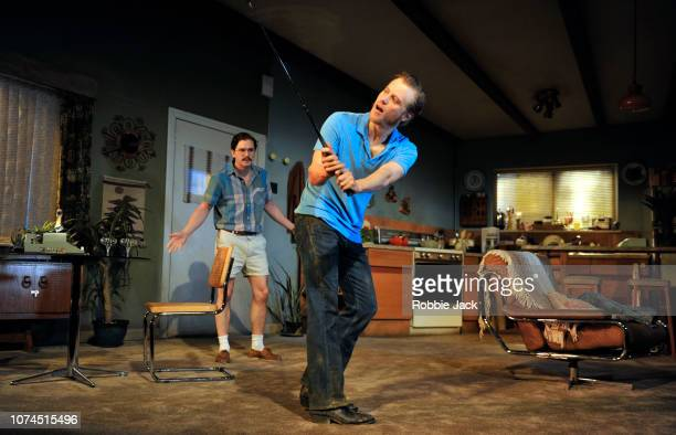 Kit Harington as Austin and Johnny Flynn as Lee in Sam Shepard's True West directed by Matthew Dunster at the Vaudeville Theatre on November 29 2018...
