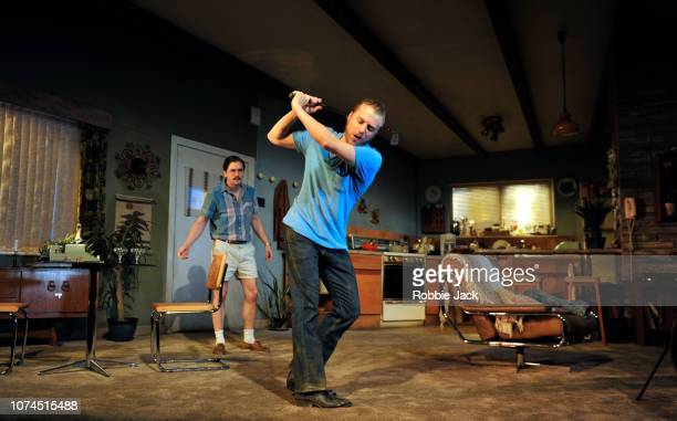 Kit Harington as Austin and Johnny Flynn as Lee with Donald Sage Mackay as Saul in Sam Shepard's True West directed by Matthew Dunster at the...