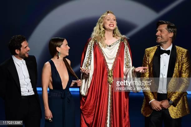 Kit Harington, Emilia Clarke, Gwendoline Christie and Nikolaj Coster-Waldau speak onstage during the 71st Emmy Awards at the Microsoft Theatre in Los...