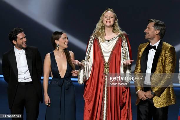 Kit Harington, Emilia Clarke, Gwendoline Christie, and Nikolaj Coster-Waldau speak onstage during the 71st Emmy Awards at Microsoft Theater on...