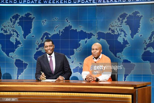 LIVE Kit Harington Episode 1763 Pictured Anchor Michael Che and Kenan Thompson as Charles Barkley during Weekend Update on Saturday April 6 2019