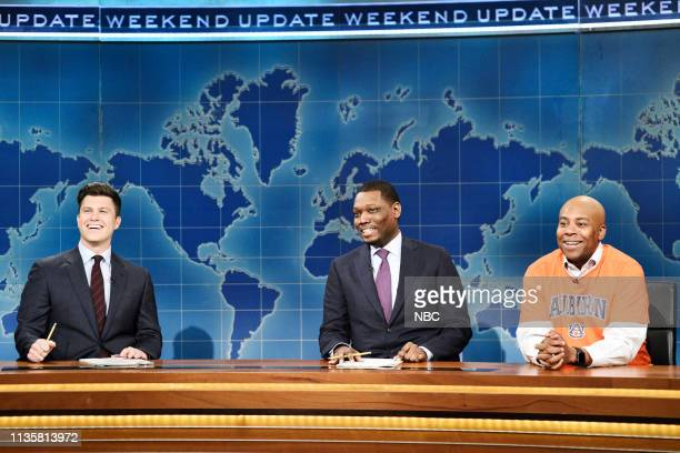 LIVE Kit Harington Episode 1763 Pictured Anchors Colin Jost and Michael Che with Kenan Thompson as Charles Barkley during Weekend Update on Saturday...