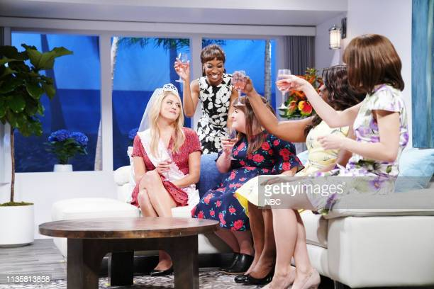 LIVE 'Kit Harington' Episode 1763 Pictured Cecily Strong as Erin with Ego Nwodim Aidy Bryant Leslie Jones and Melissa Villaseñor as bridesmaids...
