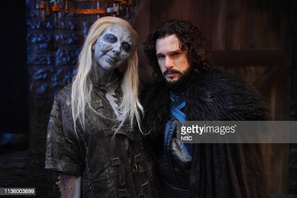 "Kit Harington"" Episode 1763 -- Pictured: Heidi Gardner as a White Walker and host Kit Harington as Jon Snow, backstage in studio 8H on Saturday,..."
