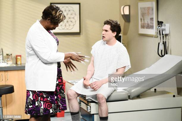 LIVE 'Kit Harington' Episode 1763 Pictured Leslie Jones as Dr DeMarsha and host Kit Harington as the patient during the 'Exam' sketch on Saturday...