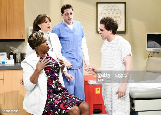 LIVE 'Kit Harington' Episode 1763 Pictured Leslie Jones as Dr DeMarsha Cecily Strong as Christine Pete Davidson as Marcus and host Kit Harington as...