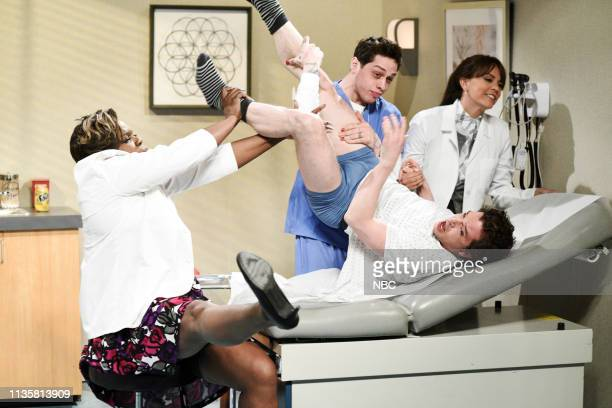 LIVE Kit Harington Episode 1763 Pictured Leslie Jones as Dr DeMarsha Pete Davidson as Marcus host Kit Harington as the patient and Cecily Strong as...