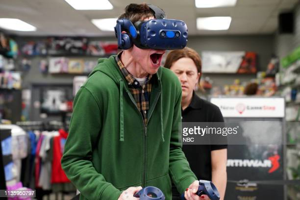LIVE Kit Harington Episode 1763 Pictured Pete Davidson as a customer and Alex Moffat as a GameStop employee during the New Video Game sketch on...