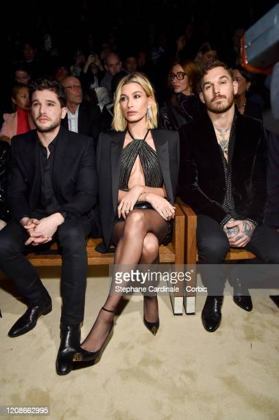 Kit Harington Hailey Bieber attend the Saint Laurent show as part of the Paris Fashion Week Womenswear Fall/Winter 2020/2021 on February 25 2020 in...