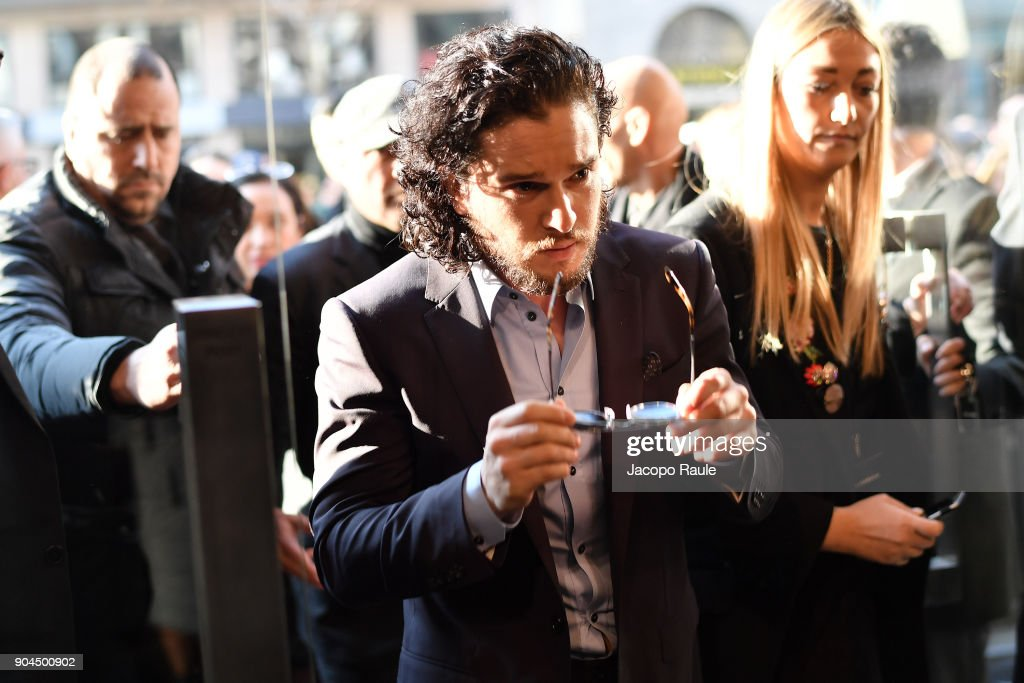 Kit Harington is seen arriving at Dolce Gabbana Fashion Show during Milan Men's Fashion Week Fall/Winter 2018/19 on January 13, 2018 in Milan, Italy.
