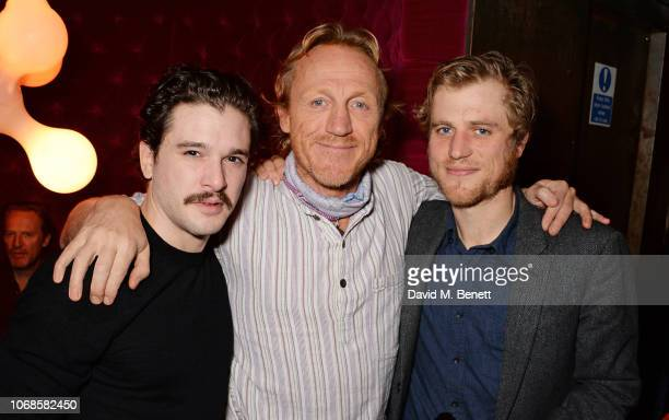 Kit Harington Jerome Flynn and Johnny Flynn attend the press night after party for True West at the Foundation Bar on December 4 2018 in London...