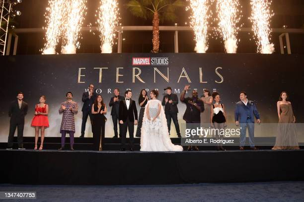 Kit Harington, Lia McHugh, Kumail Nanjiani, Producer and VP of Production & Development at Marvel Studios Nate Moore, Salma Hayek, Executive Producer...