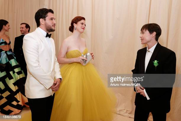 Kit Harington, Rose Leslie, and Elliot Page attend The 2021 Met Gala Celebrating In America: A Lexicon Of Fashion at Metropolitan Museum of Art on...