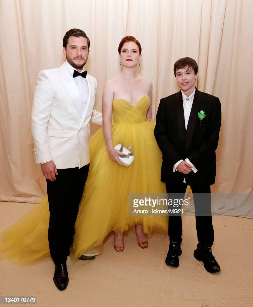 Kit Harington, Rose Leslie and Elliot Page attend The 2021 Met Gala Celebrating In America: A Lexicon Of Fashion at Metropolitan Museum of Art on...