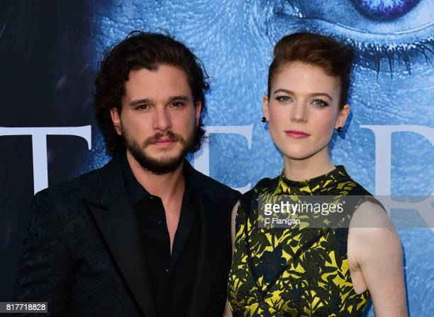 Kit Harington Rose Leslie attend the Season 7 Premiere Of HBO's Game Of Thrones at Walt Disney Concert Hall on July 12 2017 in Los Angeles California