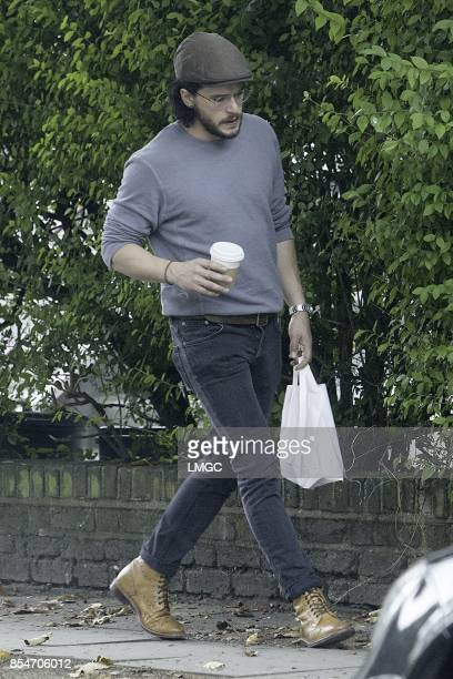 Kit Harington seen out in North London after announcing his engagement to Rose Leslie on September 27 2017 in London England